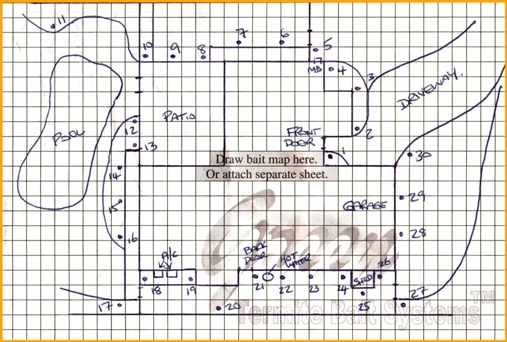 Bait map in centre of service book